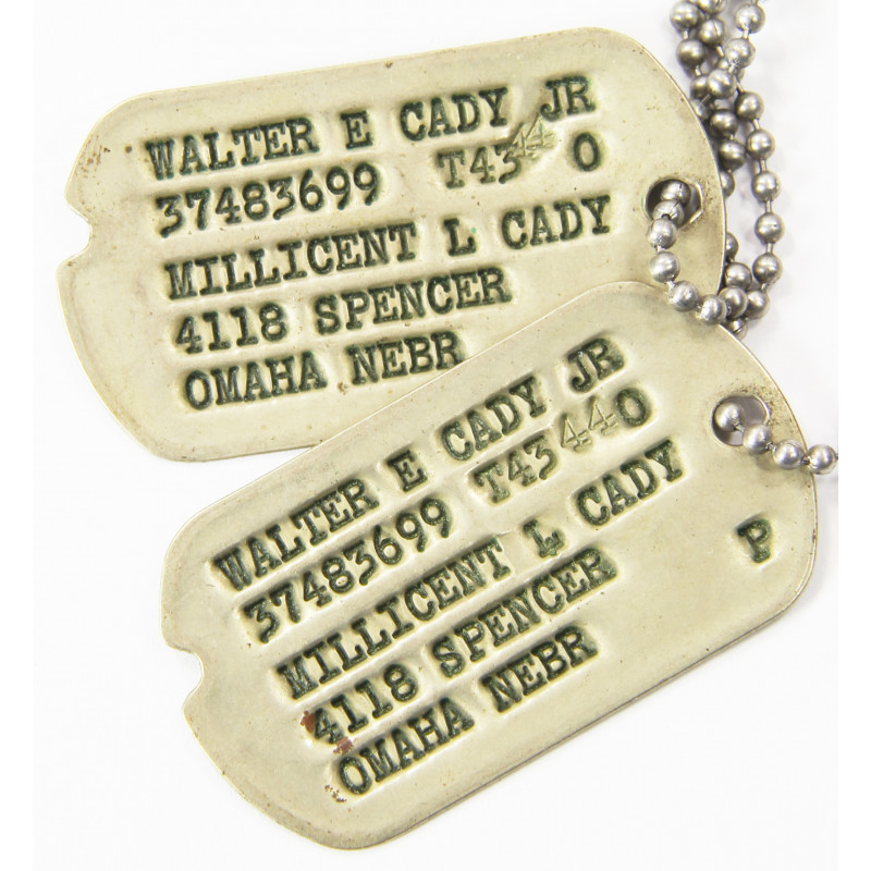 Dog Tags, 1st type Monel, Walter E. Cady Jr, 1943