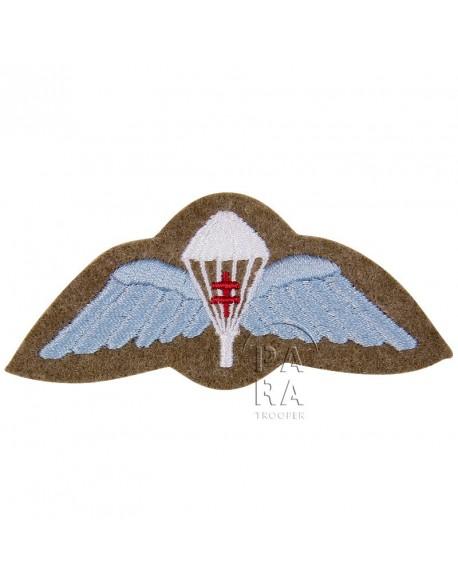Brevet de parachutiste britannique, avec croix de Lorraine, tissu
