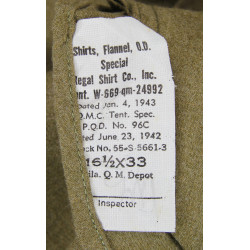 Shirt, Flannel, O.D., Special, 16 ½ x 33, 1943