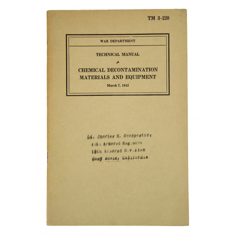 Manual, Technical, TM 3-220, Chemical Decontamination Materials and Equipment, 1942, ID