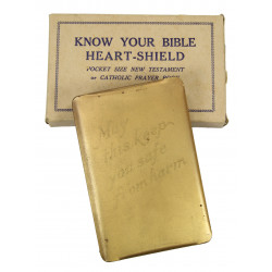 copy of Bible, Steel Shield, Gold-plated, in box
