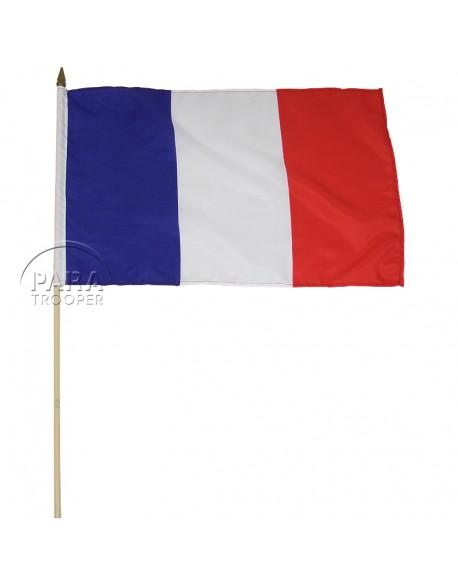Drapeau français, grand modèle, sur bâton