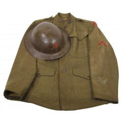 Helmet + jacket, Artillery, 6th Inf. Div., WWI