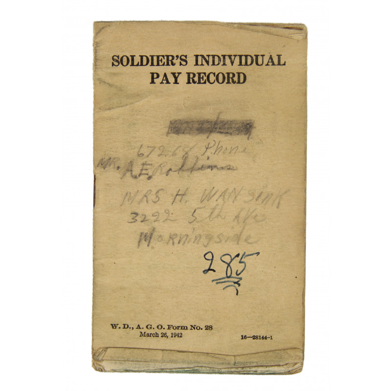 Soldier's individual pay record, named, 1944
