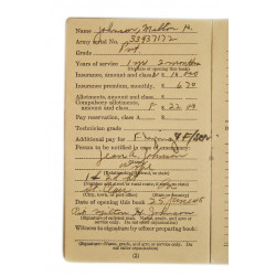 Soldier's individual pay record, named, USAAF, 1945
