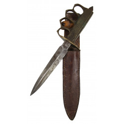 Knife, Trench, M-1918, (Au Lion) + leather scabbard