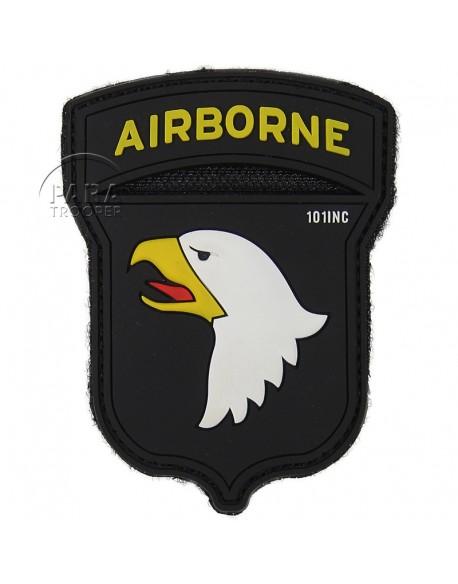 Insigne tactique PVC 3D, 101e Airborne, noir