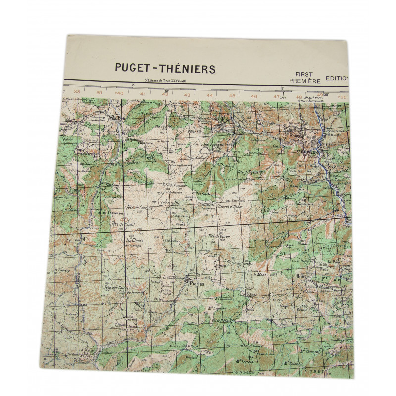 Map, Puget-Théniers, Southeastern France, Operation Dragoon, 1944