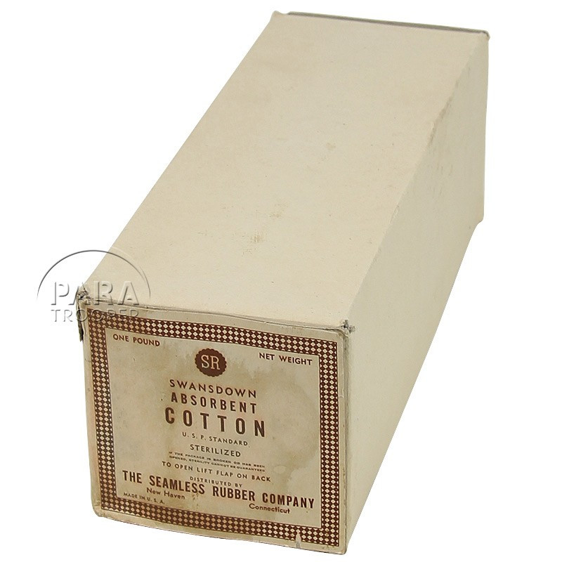 Box, Cotton, Absorbent, Swansdown,  1 Pound, US Army