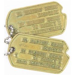 Plaques d'identité, Dog Tags, 1er type, Monel, Walter Cady Jr, 1943