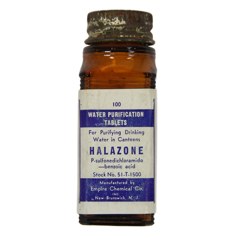 Bottle, 100 Tablets, Halazone, Empire Chemical Co.