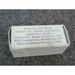Box, Match, Waterproof, FOSTER GRANT Co., 1944