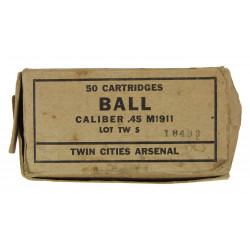Box, cartridges, .45 cal., for Pistol M1911, Twin Cities Arsenal