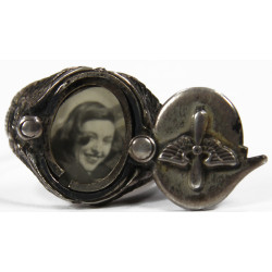 Ring, US Army Air Force, sterling, with photo locket