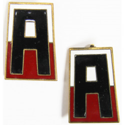 Pair of Distinctive Insignias, 1st Army, pin back