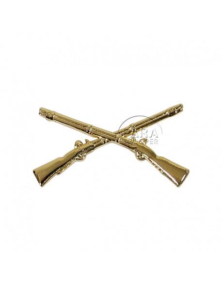 Insigne de col officier infanterie (fusils croisés)