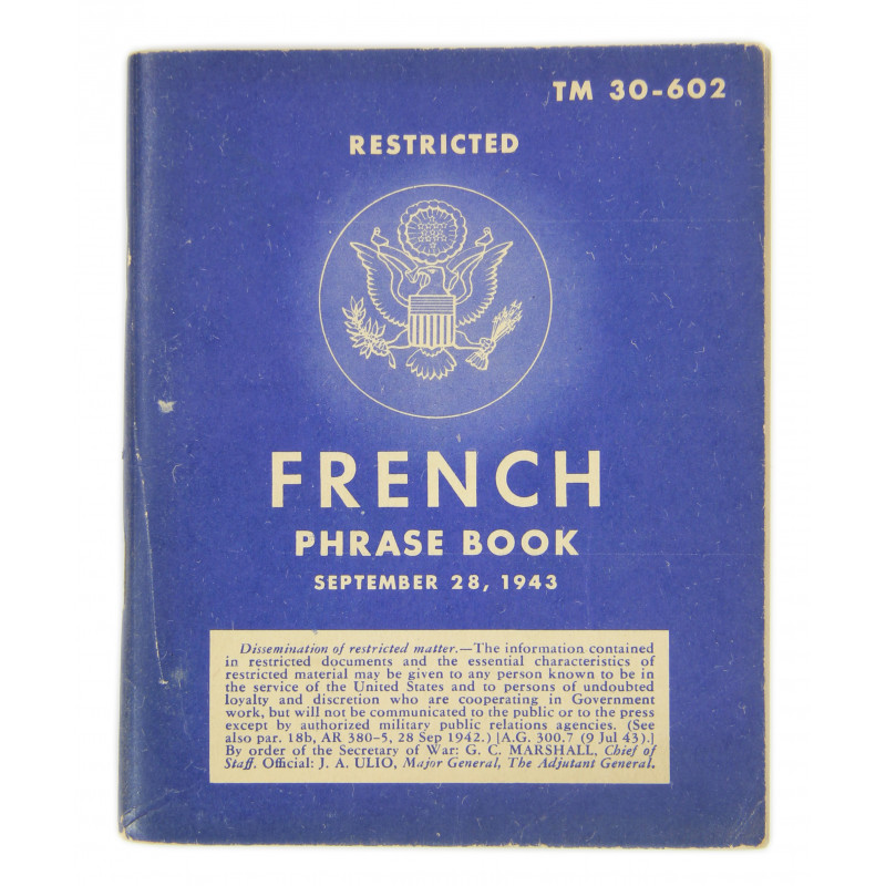 Livret French Phrase Book, 1943