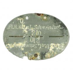 Plaque d'identité, Fliegerhorst-Kommandantur L. Schweinfurt / FJR 6, Normandie