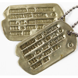 Dog Tags, 1st type Monel, Edward Mc Cauley, 1943-44