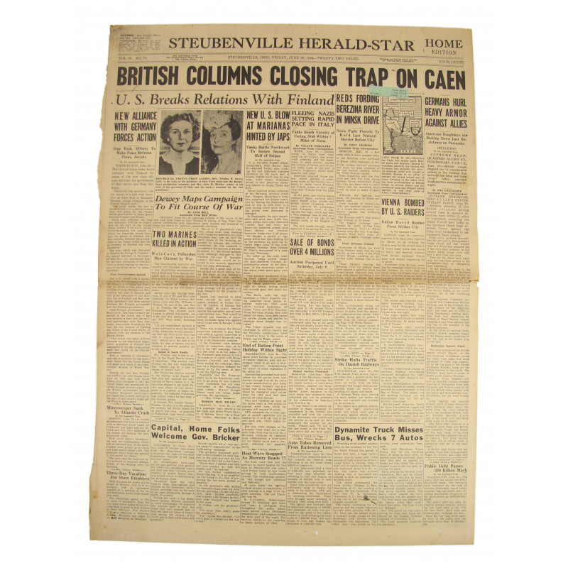 Front page, Newspaper, June 8, 1944, Bayeux