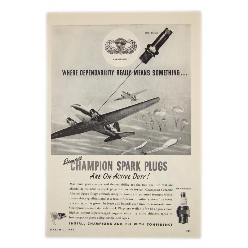 Ad, Champions, Spark plugs, 1944, Airborne