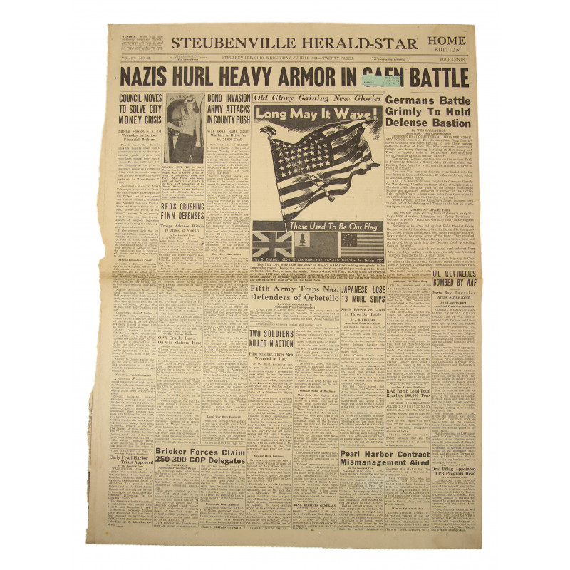 Front page, Newspaper, June 14, 1944