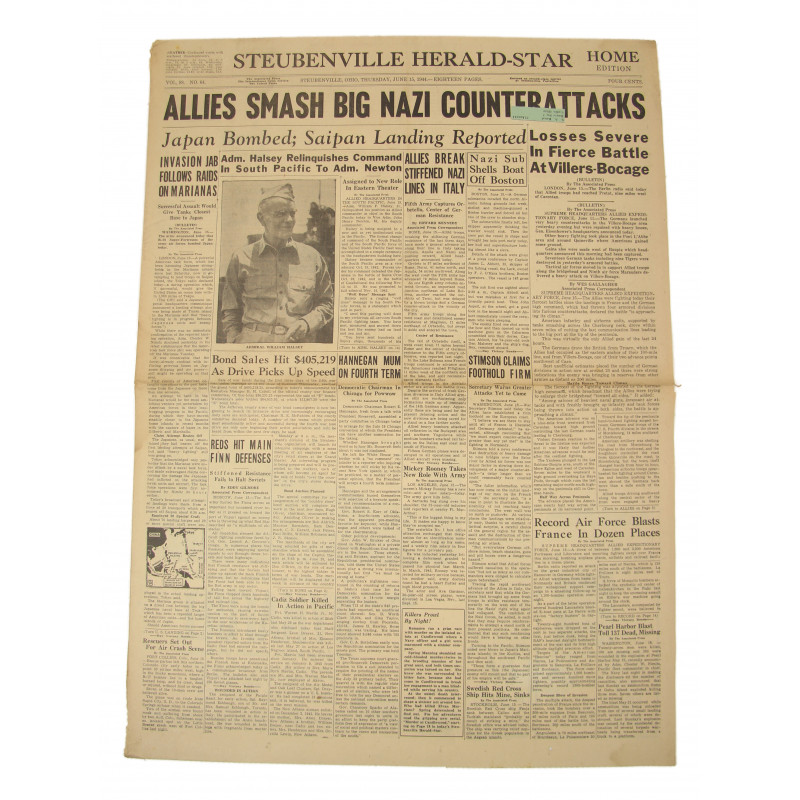 Front page, Newspaper, June 15, 1944