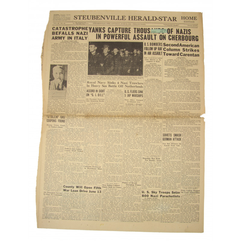 Front page, Newspaper, June 10, 1944