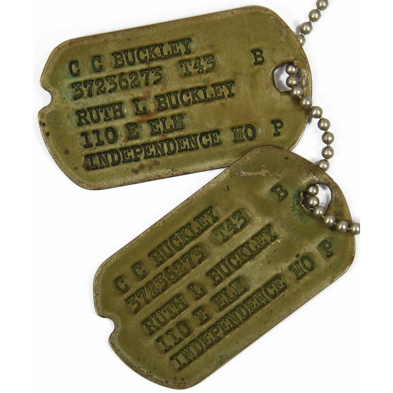 Dog Tags, Clarence C. Buckley, Officer, 42-44
