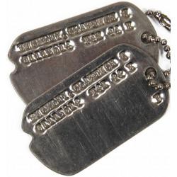 Plaques d'identité, Dog Tags, 1er type, Monel, Clarence C. Buckley, 1943