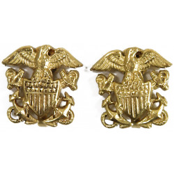 Earrings, US Navy, Sweetheart, Gold platted