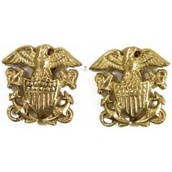 Earrings, US Navy, Sweetheart, Gold platted
