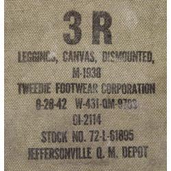 Leggings, Canvas, US Army, 3R, 1942