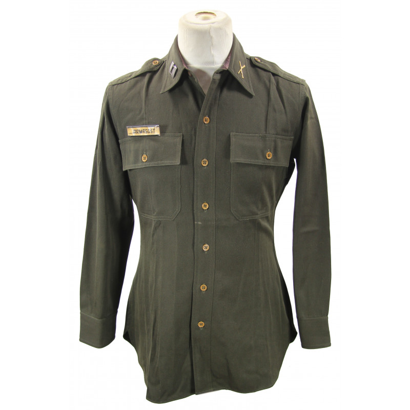 Shirt, Wool Elastique, Drab, Officer's, Chocolate, Captain Armagost