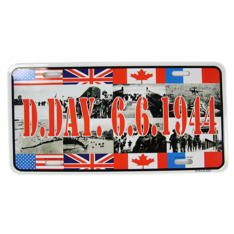Licence Plate, D-Day 6.6.1944, Allied Flags