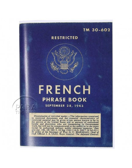 Booklet, French Phrase Book