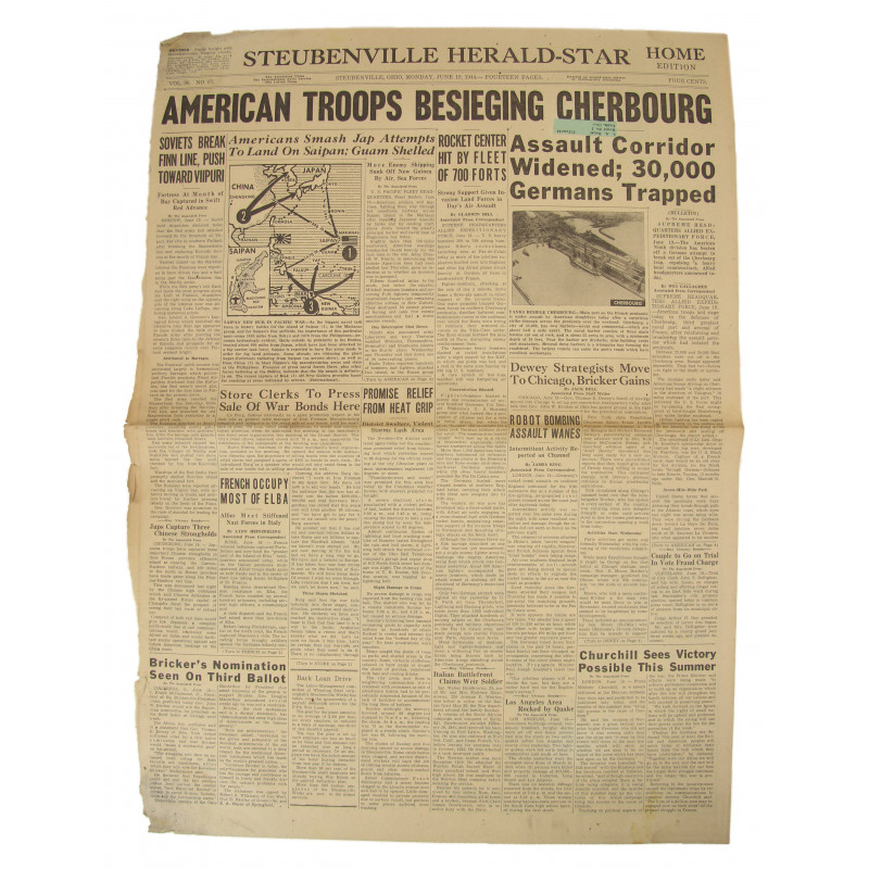 Front page, Newspaper, June 19, 1944, Cherbourg