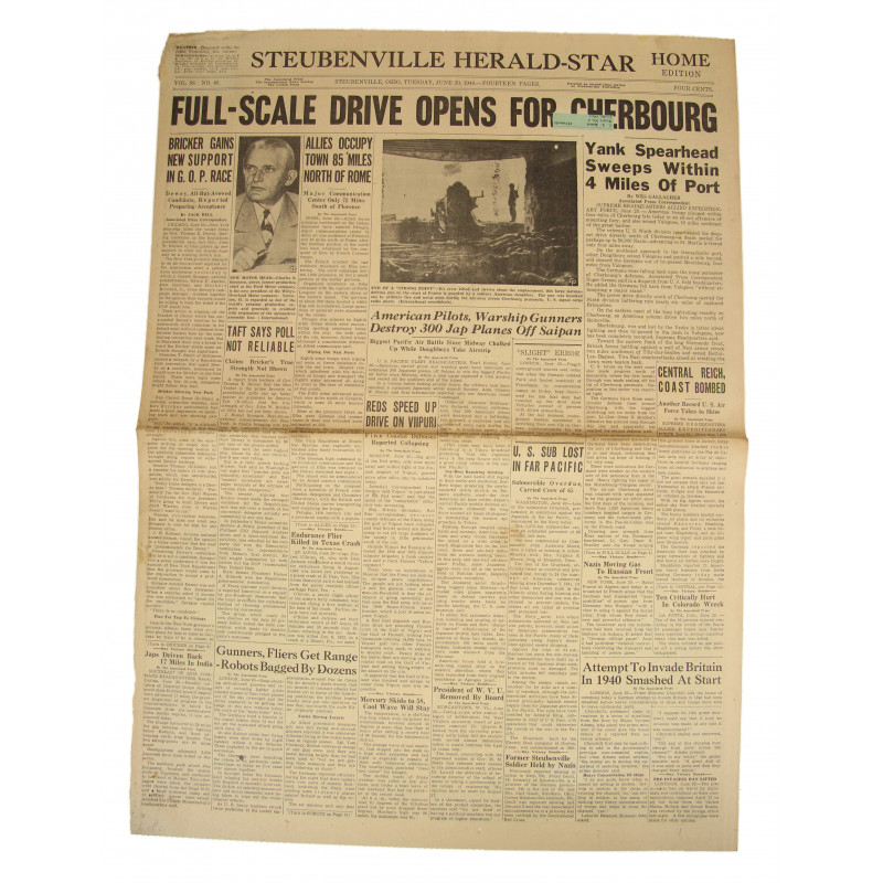 Front Page, Newspaper, June 20, 1944, Cherbourg