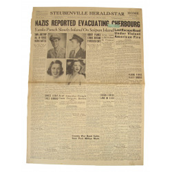 Front Page, Newspaper, June 17, 1944, Cherbourg