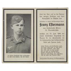 Sterbebilder, Remembrance Card, Franz Estermann, FJR 6, KIA June 15, 1944, Normandy