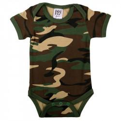 Barboteuse pour bébé avec manches, camouflée
