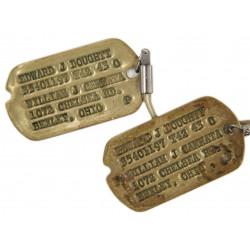 Dog Tags, 1st type Monel, Edward J. Doughty, 1942 - 1943