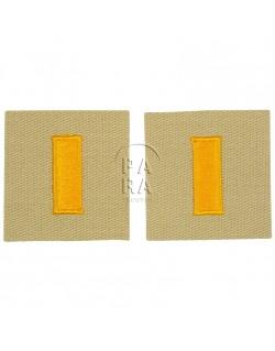 Paire de grades en tissu de 2e lieutenant