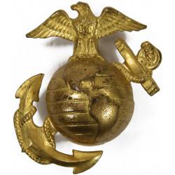 Insignia, Cap, USMC, Enlisted Men, Gilt Brass