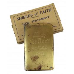 Nouveau Testament, US Army, pare-éclats, plaqué or