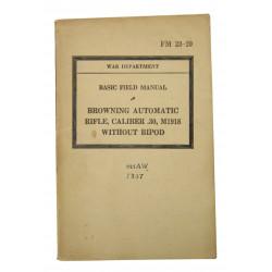 Manual, Field, FM 23-20, FM BAR M1918 without Bipod, 1940