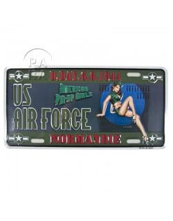 Plaque de véhicule US Air force, Pin Up