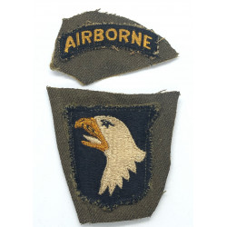 Patch, 101st Airborne Division, Type 6, White tongue, Green back, 1943
