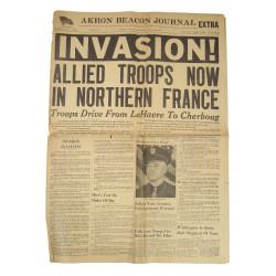 Newspaper, AKRON BEACON JOURNAL, June 6, 1944, INVASION!