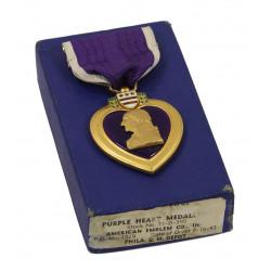 Medal, Purple Heart, in Box, American Emblem Co., 1943